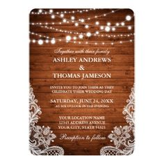 #Rustic Wedding Wood String Lights Lace R Card - #weddinginvitations #wedding #invitations #party #card #cards #invitation #lace