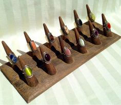 12 Cones Ring Display Wood Ring Display by PeruvianArtDesigns