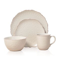 This elegance Pfaltzgaff Everyday Chateau Cream 16 Piece Dinnerware Set has a debossed pattern on it and a thin red edge around it. The set will go with any table setting you have and make your table setting shine.