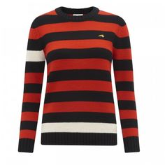 Pure Cashmere mid weight stripe jumper with contrast stripe detail and gold dog embroidery. Ribbed neck, hem and cuffs.