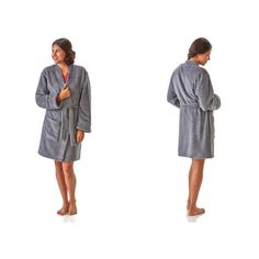 Hanes Plush Robes for Women: Grey (15 NZD) ❤ liked on Polyvore featuring intimates, robes, grey, lounge & sleepwear, grey robe, hanes, patterned robes, bath robes and dressing gown