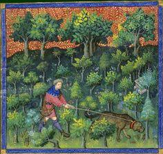 Le livre de chasse, folio 63   ci devise comment on doit aller en quête dans les jeunes taillis