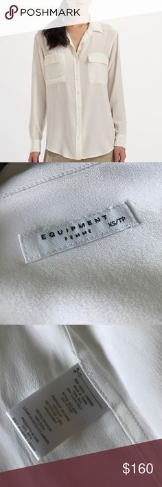 Signature Equipment Silk Top Bright White XS NWOT Inspired by the archived original but with a slimmer fit, the menswear inspired slim signature silk shirt is a timeless classic. Slightly oversized with two front flap pockets, the slim signature is a versatile wardrobe staple that works just as well tucked into a pencil skirt as it does untucked with a pair of jeans.  NWOT, New without tags, pop tag still attached, as seen in pic. No flaws. Bright White. XS 100% SILK DRY CLEAN IMPORTED…
