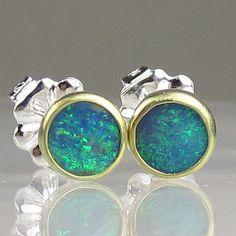 Australian Boulder Opal Earrings - 18k Gold and Sterling. $134.00, via Etsy.