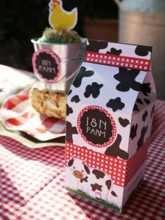 Barnyard Birthday Party Printables Supplies Milk Carton favor Box