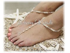 SEA of LOVE pearl Barefoot sandals by CatherineColeStudio on Etsy, $15.00