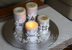 Advent Season is here! Why not dress up your 4 candles with Stampin' UP holiday products? ~ Cindy Schuster