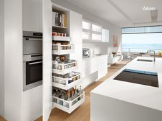 Maximising kitchen storage space and keeping supplies organised is made easy with Blum's TANDEMBOX SPACE TOWER Home Decor Kitchen, Kitchen Interior, New Kitchen, Home Kitchens, Kitchen Ideas, Pantry Design, Kitchen Design, Kitchen Renovation Inspiration, Buy Kitchen Cabinets