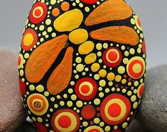 Mandala Rock Art - Mandala Dragonfly Stone - Painted Rocks- Hand Painted - Heart Mandala - Dot Art - Pointillism - Mediation Rock Mandala