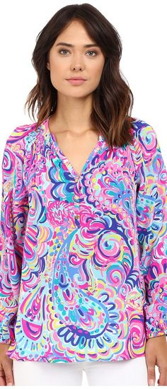 Lilly Pulitzer Elsa Top (Multi Psychedelic Sunshine) Women's Blouse - Lilly Pulitzer, Elsa Top, 41773-616FY6, Apparel Top Blouse, Blouse, Top, Apparel, Clothes Clothing, Gift, - Street Fashion And Style Ideas