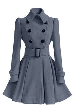 This wool coat with belt can make you looked slimmer and fashion,double buttons do make you looked cool and flared hem do make you looked lovely,it is very suitable for some girls who is sweet,you can