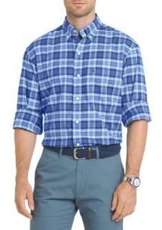 Izod Men's Oxford Plaid Button Down Shirt - Blue - 2Xl