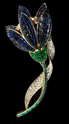 RAREST Huge Philippe TRIFARI Invisible Set Rhinestone FLOWER Figural Brooch Pin #Trifari
