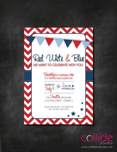 Red White & Blue Birthday Party or BBQ Invitation by CollideStudio, $15.00