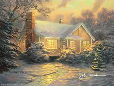 Christmas Cottage by Thomas Kinkade -  In the film, I'm at work, painting a study of Christmas Cottage, -- the radiantly lit, loving home that sheltered and supported the development of my character. We are releasing the official Christmas Cottage print especially for my many loyal collectors.