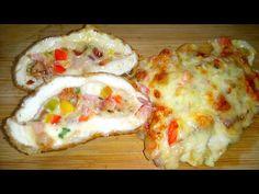 Krémsajtos töltött csirkemell, kétféleképpen/Stuffed chicken with cream . Meat Recipes, Tacos, Mexican, Chicken, Ethnic Recipes, Youtube, Food, Essen, Meals