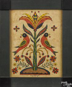 David Y. Ellinger (American 1913-2003), watercolor drawing of birds flanking a tulip tree - Price Estimate: $300 - $500