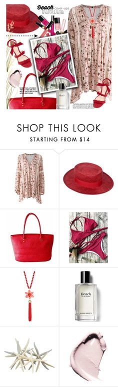 """""""Aussie summer"""" by jan31 ❤ liked on Polyvore featuring Chanel, Kate Spade, Bobbi Brown Cosmetics, Alexandre Birman, sandals, swimwear, strawbags, strawhats and beachcoverups"""