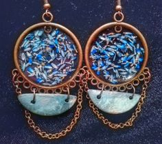 Blue petals earrings made with real pressed flowers, by artmachi