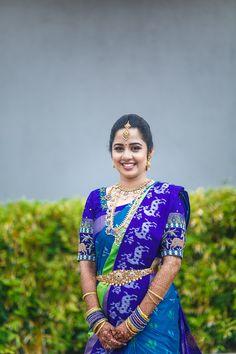 The Coimbatore Bound Bride - Nishaa Venugopalan & Suhas Wedding Saree Blouse Designs, Pattu Saree Blouse Designs, Half Saree Designs, Fancy Blouse Designs, Dress Neck Designs, Ikkat Pattu Sarees, Silk Sarees, Pochampally Sarees, Saris