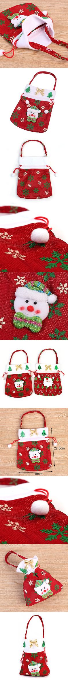 Christmas Candy Gifts Bag Sack Stocking Filler Present Bag Stocking Bag Christmas Santa Gift Sack with Cord Drawstring Xmas Decor Pics 1 Pics (Picture 2)