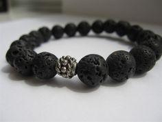 Mens Beaded Bracelet - Large Lava Rock Bracelet