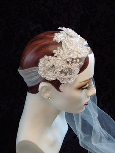 Flapper Inspired Bridal Headpiece, Art Deco Style, Flapper Headband, 1920s Style, Retro Weddings, Bridal Accessories. via Etsy.