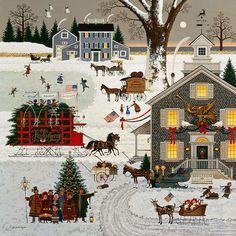 Charles Wysocki - Cape Cod Christmas - ANNIVERSARY EDITION CANVAS from the Greenwich Workshop Fine Art Gallery featuring fine art prints, canvases, books, porcelains and gift ideas. Christmas Scenes, Christmas Art, Vintage Christmas, Christmas Puzzle, Victorian Christmas, Illustration Noel, Christmas Illustration, Cat Illustrations, Primitive Folk Art