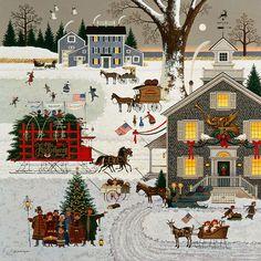 I love his art! | Charles Wysocki - Cape Cod Christmas | @greenwichworkshop