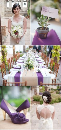 San Juan Capistrano Wedding by Leila Brewster Photography | Style Me Pretty    Love the Purple and Plants, this is awesome