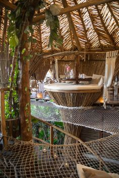 This place looks incredible - eat dinner in an amazing treehouse! Kin Toh Tree House Nest Restaurant at Azulik Resort Tulum, Mexico / View of Jungle Best Places to Eat in Tulum Mexico Quintana Roo Yucatan Beautiful Tree Houses, Cool Tree Houses, Amazing Tree House, Amazing Houses, Luxury Restaurant, House Restaurant, Modern Restaurant, Restaurant Design, Tree House Drawing