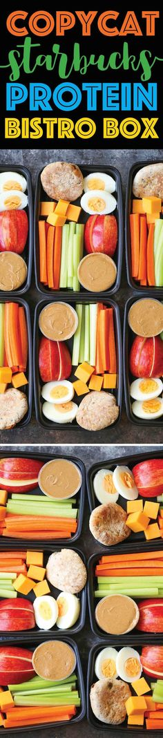 healthy meals food recipes diiner cooking Copycat Starbucks Protein Bistro Box - Now you can easily make your own snack boxes! Healthy, nutritious and prepped for lunch or post-workout snacks! Protein Snacks, Healthy Snacks, Healthy Eating, Healthy Recipes, Protein Box, Healthy Protein, High Protein, Healthy Weight, Diet Snacks