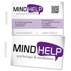 Dubbelzijdig visitekaart ontwerp voor Mindhelp