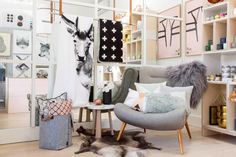 norsu interiors shop - 356 Wattletree Road, Malvern East, Vic, Australia Chair by Meizai, Sne Design felt storage basket, Natures Colleciton Reindeer hide & sheepskin, Cushions by Louise Roe, ferm LIVING & OYOY, By Nord quilt & Pia Wallen cross blanket