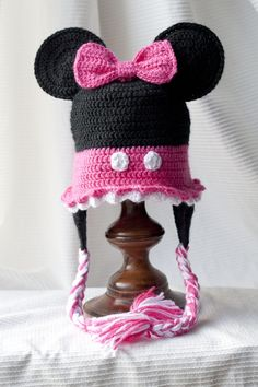 d24c3cc7c80 Minnie Mouse Custom crocheted hat by HappyBubblesCouture on Etsy