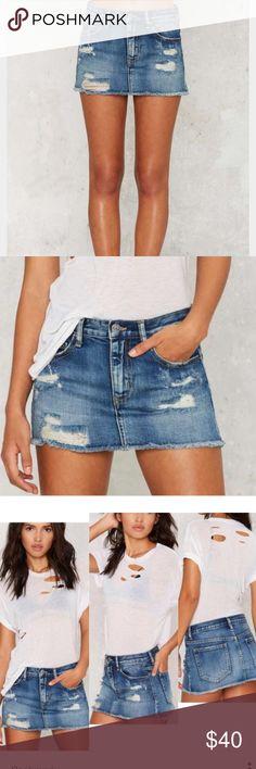 Zee Gee Why Skinny Ass Denim Mini Skirt Distressed slim fit mini skirt. Zee Gee Why Skirts Mini