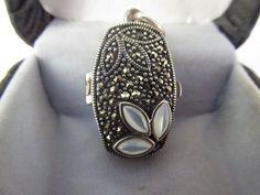 Vintage 1 .925 Sterling Silver Pearl Locket by PureJewelryElegance