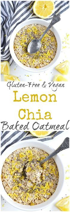 Lemon Chia Seed Baked Oatmeal - Bright and bursting with lemon flavor, this Lemon Chia Seed Baked Oatmeal is a simple, healthy breakfast that will have you craving summer! Gluten-free and vegan.