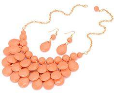 Teardrop Coral Bubble Necklace Set 14