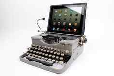 This antique typewriter has been modified to work as a USB Keyboard for PC, Mac, or even iPad! The USB Typewriter can type all letters, numerals, and punctuation marks.