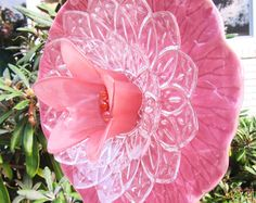 vintage glass garden art glass plate flower by ADelicateTouch1