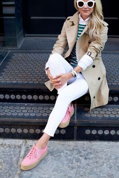 trench coat + white pants + pink sneakers via Blair Eadie