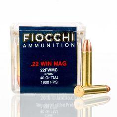 Fiocchi 22 WMR Ammo - 50 Rounds of 40 Grain TMJ Ammunition  #22WMR #22WMRAmmo #Fiocchi #FiocchiAmmo #Fiocchi22WMR #TMJ