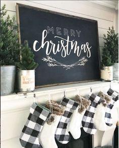 christmas signs merry christmas sign - ourfauxfarmhouse on Merry Christmas Frame, Christmas Mantels, Plaid Christmas, Rustic Christmas, Winter Christmas, Christmas Holidays, Christmas Decorations, Holiday Decor, Holiday Signs