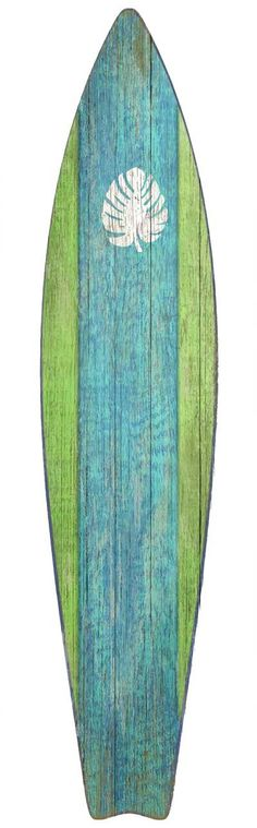 Surfboard Green Wood Wall Art: Beach Decor, Coastal Decor, Nautical Decor, Tropical Decor, Luxury Beach Cottage Decor