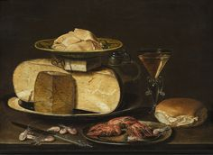 Clara Peeters (Active in Antwerpen, c.1607-1621 of later), Still life with cheese, shrimp and crawfish, 1612-21, Private Collection.