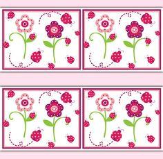 LADYBUG WALLPAPER BORDER Decal Wall Art Floral Girl Nursery Decor Baby Pink Flower Garden Stickers Children's Bedroom Kids Room Decorations #decampstudios
