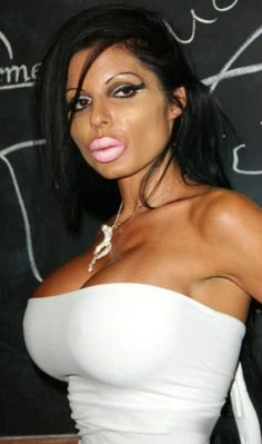 Fake Hot Girl with Impossible Figure Big Lips and Boobs. Cosmetic Surgery Fail. ---- hilarious jokes funny pictures walmart humor fails