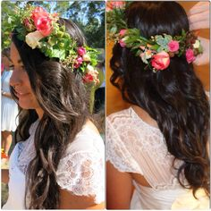 Boho brides hair. Flower Crown. Real succulents, real roses, edible berries, fresh foliage.