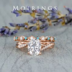 Moissanite Engagement Ring Set Rose Gold Infinity 6x8mm Oval Cut Moissanite Ring Cathedral Solitaire Ring Diamond Turquoise Band Bridal Ring Bridal Ring Sets, Bridal Rings, Gold Engagement Rings, Engagement Ring Settings, Solitaire Ring, Diamond Rings, Custom Earrings, Moissanite Rings, Handmade Rings